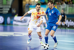 Alex of Spain and Vitaliy Borisov of Azerbaijan during futsal match between National teams of Ukraine and Portugal at Day 6 of UEFA Futsal EURO 2018, on February 4, 2018 in Arena Stozice, Ljubljana, Slovenia. Photo by Urban Urbanc / Sportida