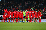 A minute's silence is held before the EFL Sky Bet League 2 match between Leyton Orient and Barnet at the Matchroom Stadium, London, England on 7 January 2017. Photo by Jack Beard.