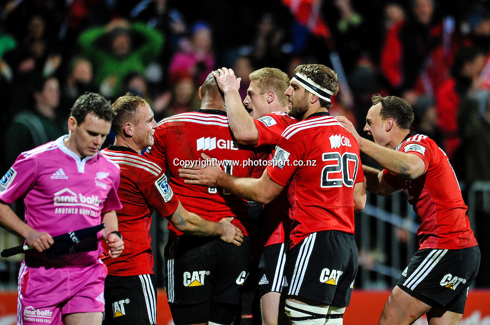 The Crusaders celebrates Nemani Nadolo try in the Super match,  Crusaders v The Blues, at AMI Stadium, Christchurch, on the 5 July 2014 . Photo:John Davidson/www.photosport.co.nz