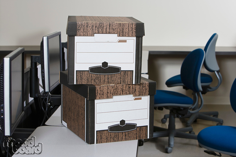 Moving Boxes on Office Desk