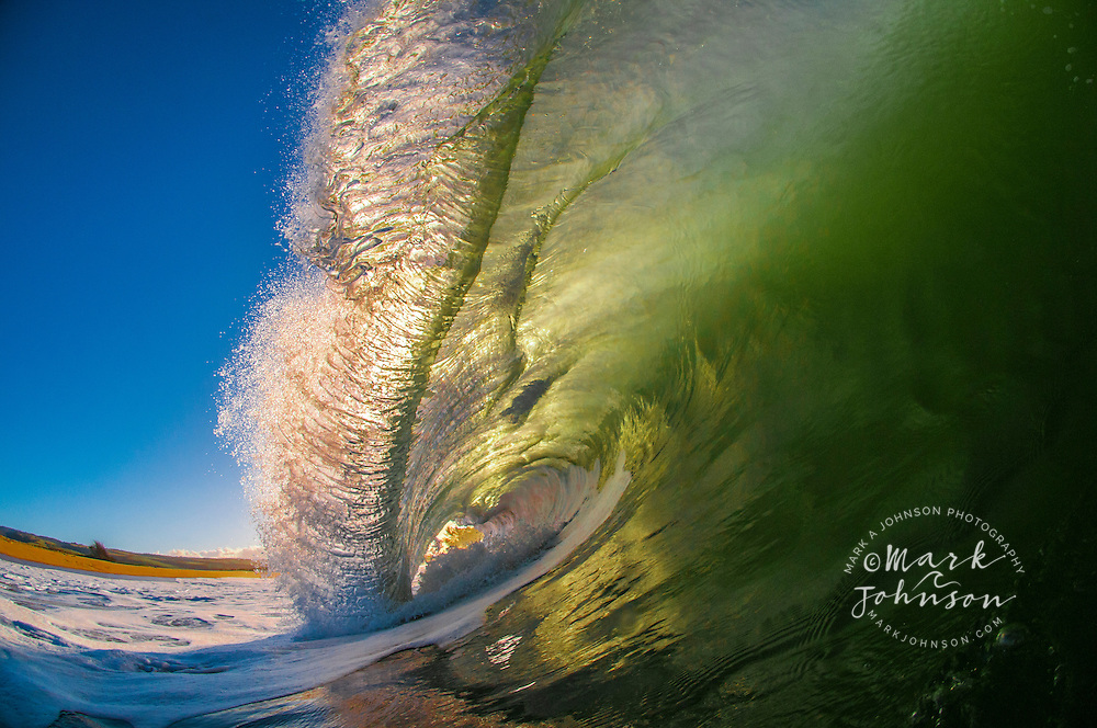 A powerful breaking wave backlit at sunrise, Kauai, Hawaii