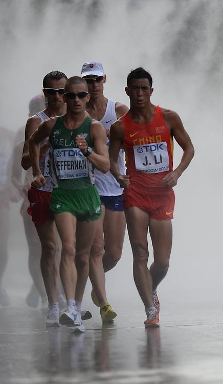 14.08.2013. Moscow, Russia. IAAF World Championship Athletics.  Big Sports Arena Luzhniki Moscow Chinas Li Jianbo during the mens 50 Kilometers Race Walk Final of The 14th IAAF World Athletics Championships MOSCOW