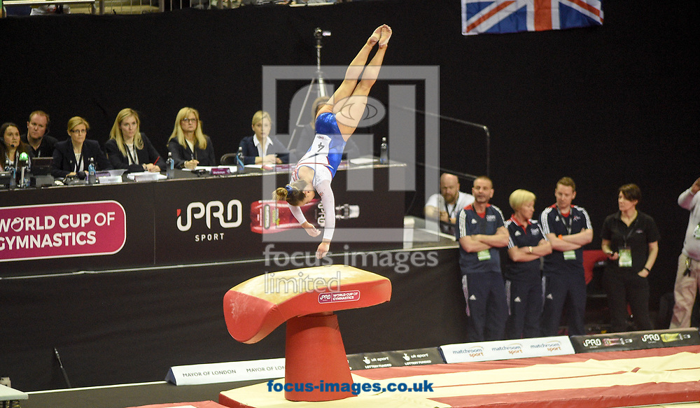Amy Tinkler on the vault Women's iPro World Cup of Gymnastics 2017 at the O2 Arena, London, UK.<br /> Picture by Hannah Fountain/Focus Images Ltd 07814482222<br /> 08/04/2017