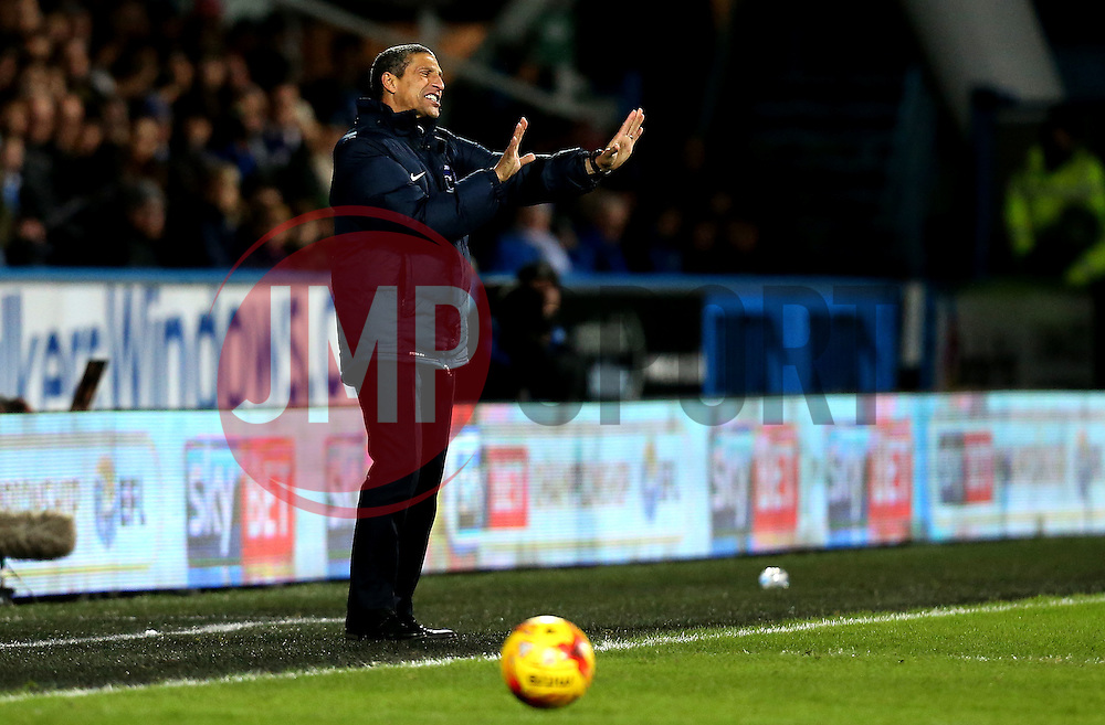 Brighton & Hove Albion Manager Chris Hughton looks frustrated during the defeat to Huddersfield Town - Mandatory by-line: Robbie Stephenson/JMP - 02/02/2017 - FOOTBALL - John Smith's Stadium - Huddersfield, England - Huddersfield Town v Brighton and Hove Albion - Sky Bet Championship