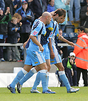 Photo: Frances Leader.<br />Wycombe Wanderers v Chester City. Coca Cola League 2.<br />01/10/2005.<br /><br />Wycombe's Roger Johnson celebrates his goal against Chester.