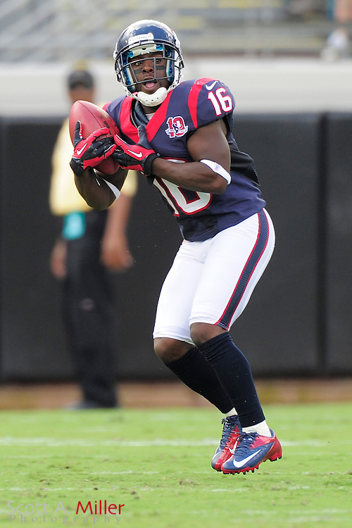 Houston Texans wide receiver Trindon Holliday (16) runs with the ball during the NFL game between the Texans and the Jacksonville Jaguars, at EverBank Field on September 16, 2012 in Jacksonville, Florida. The Texans won 27-7...©2012 Scott A. Miller.