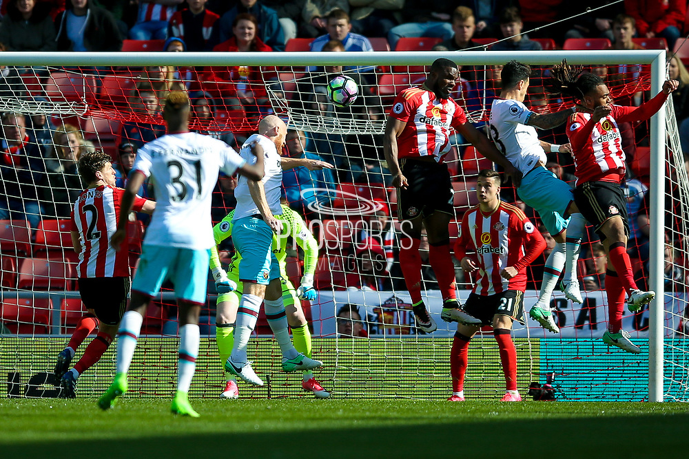 West Ham United Defender James Collins (19) scores a goal  to make the score 1-2 during the Premier League match between Sunderland and West Ham United at the Stadium Of Light, Sunderland, England on 15 April 2017. Photo by Simon Davies.