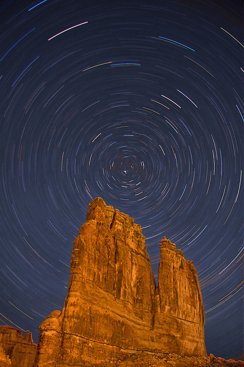 Star Trails over Courthouse Towers, Arches National Park, Utah