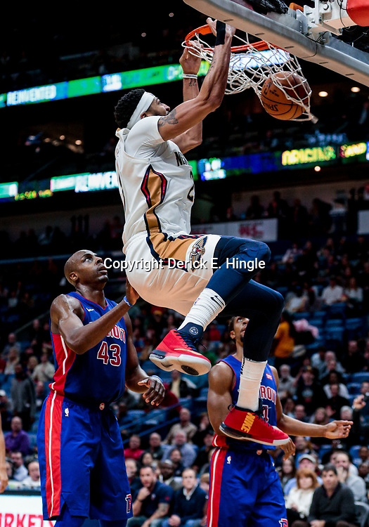 Jan 8, 2018; New Orleans, LA, USA; New Orleans Pelicans forward Anthony Davis (23) dunks over Detroit Pistons forward Anthony Tolliver (43) during the second half at the Smoothie King Center. The Pelicans defeated the Pistons 112-109. Mandatory Credit: Derick E. Hingle-USA TODAY Sports