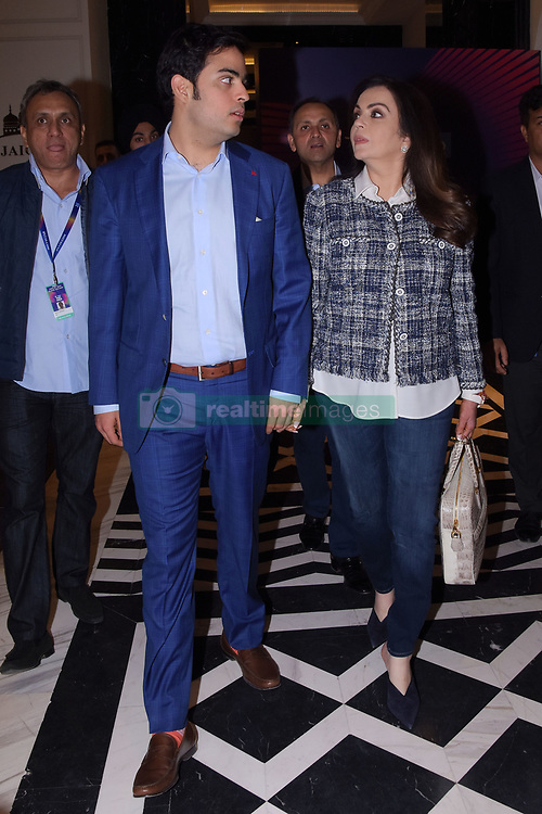 December 18, 2018 - Jaipur, Rajasthan, India - Mumbai Indians owner Nita Ambani (R) and her son Akash Ambani (L) look on during Indian Premier League 2019 auction in Jaipur on December 18, 2018, as teams prepare their player rosters ahead of the upcoming Twenty20 cricket tournament next year. The 2019 edition of the IPL -- one of the world's most-watched sporting events attracting the world's top stars -- is set to take place in April and May next year.(Photo By Vishal Bhatnagar/NurPhoto) (Credit Image: © Vishal Bhatnagar/NurPhoto via ZUMA Press)