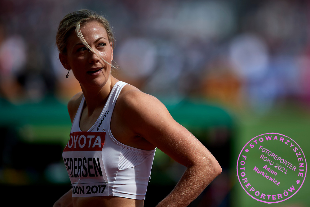 Great Britain, London - 2017 August 11: Isabelle Pedersen from Norway competes in women&rsquo;s 100 meters qualification during IAAF World Championships London 2017 Day 8 at London Stadium on August 11, 2017 in London, Great Britain.<br /> <br /> Mandatory credit:<br /> Photo by &copy; Adam Nurkiewicz<br /> <br /> Adam Nurkiewicz declares that he has no rights to the image of people at the photographs of his authorship.<br /> <br /> Picture also available in RAW (NEF) or TIFF format on special request.<br /> <br /> Any editorial, commercial or promotional use requires written permission from the author of image.