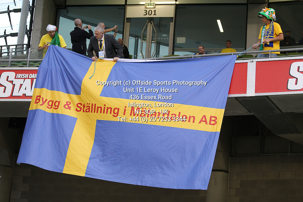 06/09/2013 FIFA 2014 World Cup Qualifying - Group C . Rep of Ireland v Sweden<br /> Swedish fans hang their banner<br /> Photo: John Halas