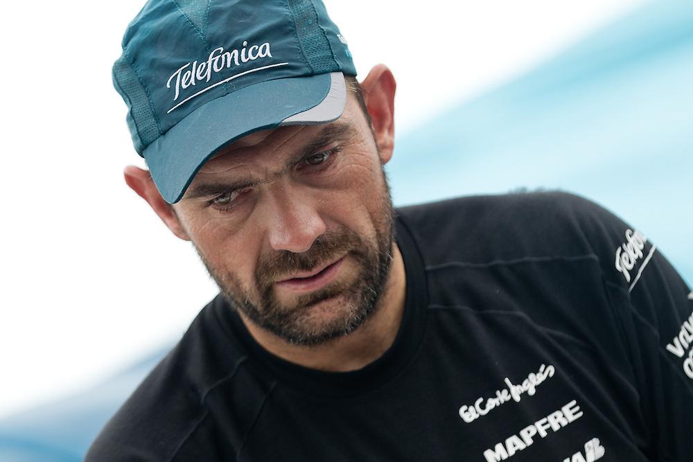 CHINA, Sanya. 4th February 2012. Volvo Ocean Race. Leg 3 Arrivals. Xabi Fernandez, trimmer, Team Telefonica.
