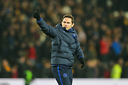 Chelsea Head Coach Frank Lampard gives a thumbs up to the fans following The FA Cup match between Hull City and Chelsea at the KCOM Stadium, Kingston upon Hull, England on 25 January 2020.