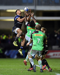 Gabriel Hamer-Webb of Bath Rugby claims the ball in the air - Mandatory byline: Patrick Khachfe/JMP - 07966 386802 - 10/01/2020 - RUGBY UNION - The Recreation Ground - Bath, England - Bath Rugby v Harlequins - Heineken Champions Cup