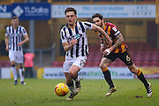Millwall midfielder Ben Thompson (8) runs with the ball  during the EFL Sky Bet League 1 match between Bradford City and Millwall at the Northern Commercials Stadium at Valley Parade, Bradford, England on 21 January 2017. Photo by Simon Davies.