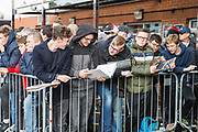 Autograph hunters await the arrival of the Arsenal FC (The Gunners) players head of the Premier League match between Bournemouth and Arsenal at the Vitality Stadium, Bournemouth, England on 25 November 2018.