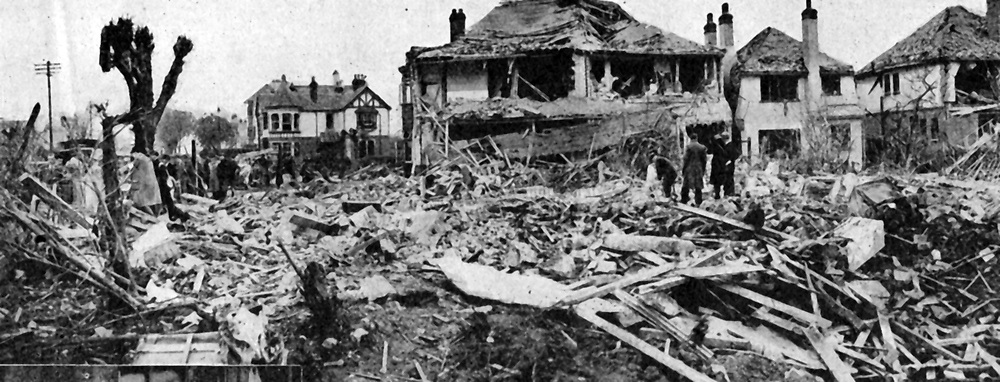 Clacton-on-Sea, Essex, England: Damage caused on night of 30 April/l May 1940 when a German mine-laying aircraft crashed, killing its crew of four and three civilians, and injuring more than 160 people on the ground.
