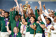 South Africa celebrates with the trophy after winning the World Cup Japan 2019, Final rugby union match between England and South Africa on November 2, 2019 at International Stadium Yokohama in Yokohama, Japan - Photo Yuya Nagase / Photo Kishimoto / ProSportsImages / DPPI