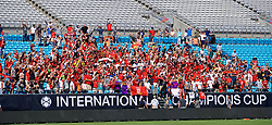 CHARLOTTE, USA - Saturday, July 21, 2018: Liverpool players pose in the stands for a photo with the supporters after a training session at the Bank of America Stadium ahead of a preseason International Champions Cup match between Borussia Dortmund and Liverpool FC. (Pic by David Rawcliffe/Propaganda)