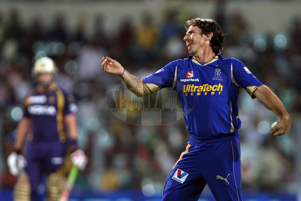 Brad Hogg during match 15 of the the Indian Premier League ( IPL) 2012  between The Kolkata Knight Riders and The Rajasthan Royals held at the Eden Gardens Stadium in Kolkata on the 13th April 2012..Photo by Jacques Rossouw/IPL/SPORTZPICS