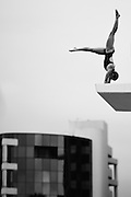 GOLD COAST, AUSTRALIA - OCTOBER 29: (EDITORS NOTE: Image has been converted to black and white.)<br /> Brittany Broben of Australia competes in the Women's 10m Platform during the FINA Diving Grand Prix on October 29, 2015 on the Gold Coast, Australia.  (Photo by Matt Roberts/Getty Images)