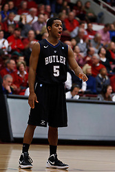 Dec 22, 2011; Stanford CA, USA;  Butler Bulldogs guard Ronald Nored (5) during a stoppage in play against the Stanford Cardinal during the first half at Maples Pavilion.  Butler defeated Stanford 71-66. Mandatory Credit: Jason O. Watson-US PRESSWIRE