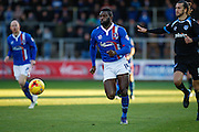Carlisle United Forward Jabo Ibehre on the attack during the Sky Bet League 2 match between Carlisle United and Portsmouth at Brunton Park, Carlisle, England on 21 November 2015. Photo by Craig McAllister.