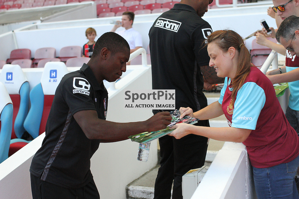 Max Gradel signs autographs During West Ham United vs Bournemouth FC on Saturday the 22nd August 2015