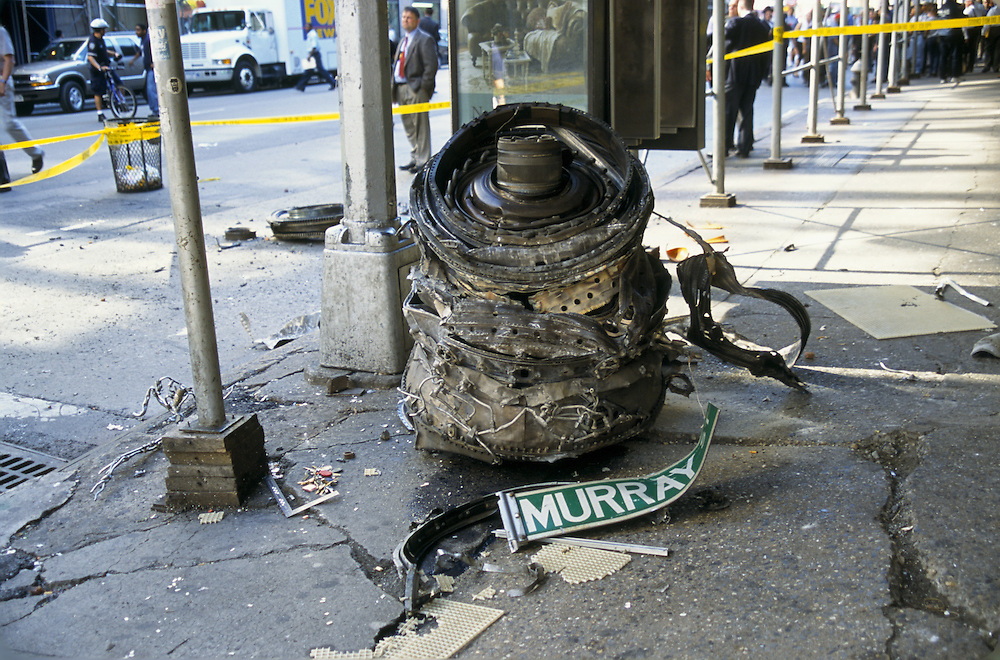 A piece of the engine of one of the airplanes that crashed into the Twin Towers in NYC on September 11, 2001 was found a few blocks away. Photo by Lisa Quinones