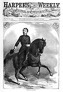 """Union Army General """"Little Mac"""" George B. McClellan on horseback. Harper's Weekly newspaper  Cover January 25, 1862. He later ran as the Democratic candidate for president in 1864 against Republican President Lincoln's second term.  He was popular in the early days of the Civil War, but was relieved of his command when he failed to act aggressively in the Peninsula Campaign, losing any chance to end the war in 1862 or 1863."""