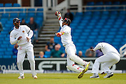 Good take by Sri Lanka   wicket keeper Dinesh Chandimal   during the Investec Test Series 2016 match between England and Sri Lanka at Headingly Stadium, Leeds, United Kingdom on 19 May 2016. Photo by Simon Davies.