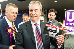 © Licensed to London News Pictures. 02/06/2017. London, UK. <br /> Former UKIP leader Nigel Farage holds a leaflet featuring British prime minister Theresa May in Dagenham Heathway during a general election campaign. Photo credit: Ray Tang/LNP