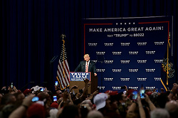 Republican presidential nominee Donald Trump delivers a speech at a rally in Aston, Pennsylvania.