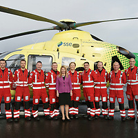 FREE TO USE PHOTOGRAPH....30.10.15<br /> Scotland's Charity Air Ambulance (SCAA) unveiled it's new helicopter at Perth airport this morning a EC135 T2i (pictured) which replaces the Bolkow 105 helicopter which is retiring from service. The new helicopter will increase speed, range, endurance and payload, allow SCAA to fly at night and in cloud. The Paramedic team from left, Phillip Campbell, Mark Tynan, Craig McDonald, Chris Darlington, Pauline Howie Chief Exec NHS Scotland, Julia Barnes, Paul Gowans, Alan Finlayson, John Salmond and Lead Paramedic John Pritchard.<br /> for further info please contact Maureen Young on 07778 779000<br /> Picture by Graeme Hart.<br /> Copyright Perthshire Picture Agency<br /> Tel: 01738 623350  Mobile: 07990 594431