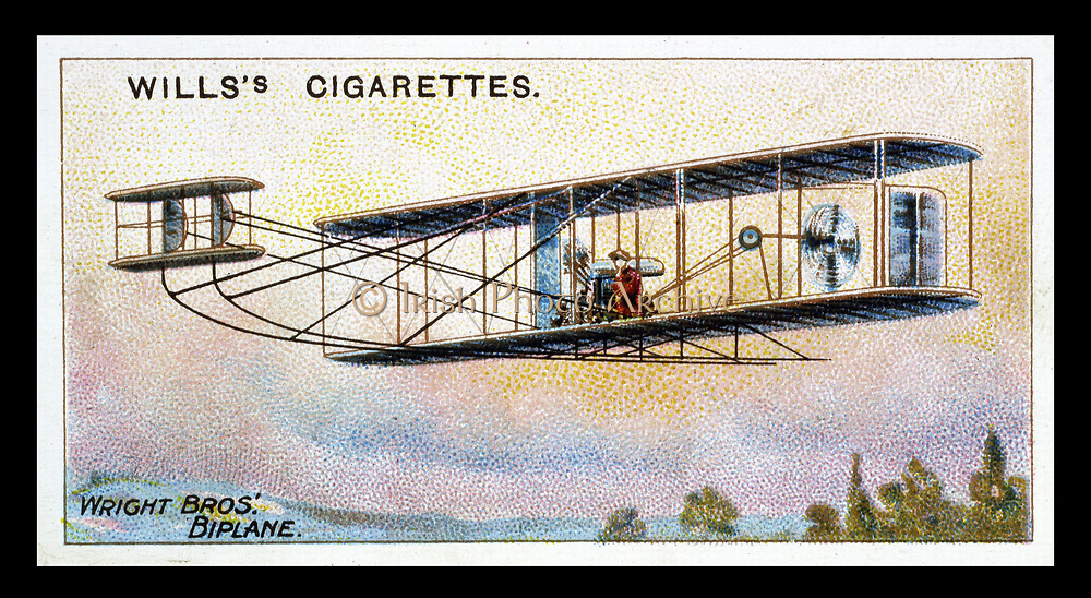Wright Brothers' biplane 'Flier': This plane used fuel injection. Card published 1910.