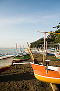 Outrigger boats on Lovina beach