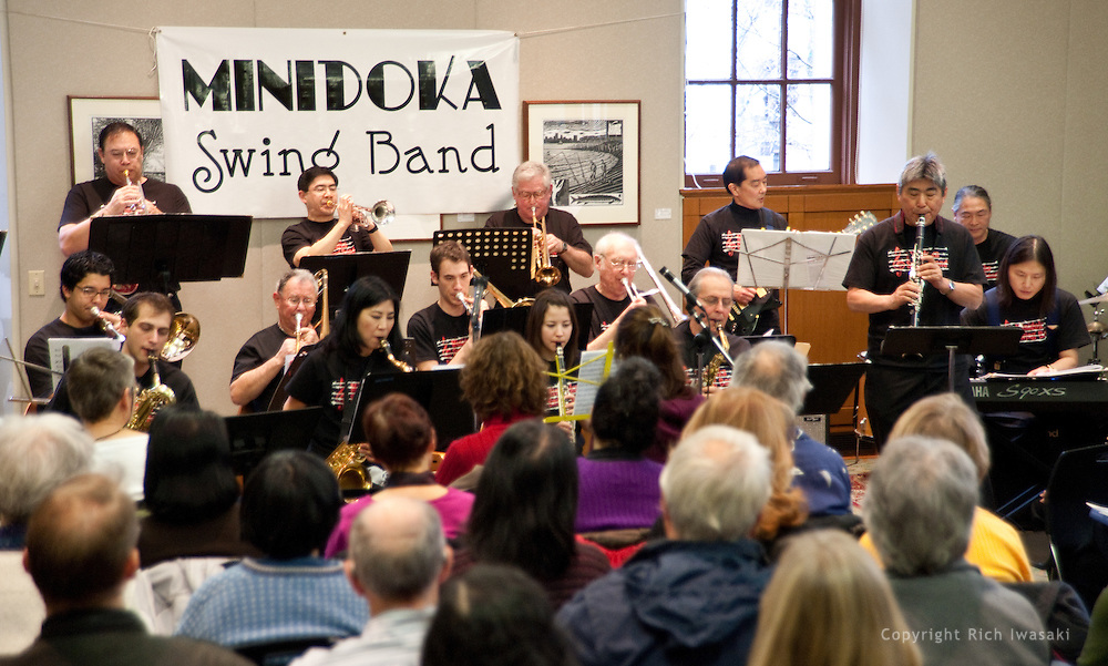 The Minidoka Swing Band performs in the US Bank Room of Multnomah County Library - Central branch, Portland, Oregon. The performance was in conjunction with Portland Center Stage's production of Snow Falling on Cedars, by David Guterson.