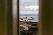The view of Weymouth bay from Grenville wing, HMP/YOI Portland, a resettlement prison with a capacity for 530 prisoners. Dorset, United Kingdom.