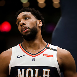 Jan 30, 2019; New Orleans, LA, USA; New Orleans Pelicans center Jahlil Okafor (8) reacts during the second quarter against the Denver Nuggets at the Smoothie King Center. Mandatory Credit: Derick E. Hingle-USA TODAY Sports