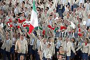 Atene 2004: Cerimonia d'apertura allo stadio olimpico. Portabandiera Iuri Chechi<br /> foto elio castoria