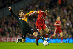 LIVERPOOL, ENGLAND - Wednesday, December 15, 2010: Liverpool's Ryan Babel and FC Utrecht's Michael Silberbauer during the UEFA Europa League Group K match at Anfield. (Photo by: David Rawcliffe/Propaganda)