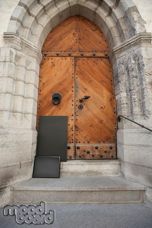 Closed wooden gate; Tallinn; Estonia; Europe