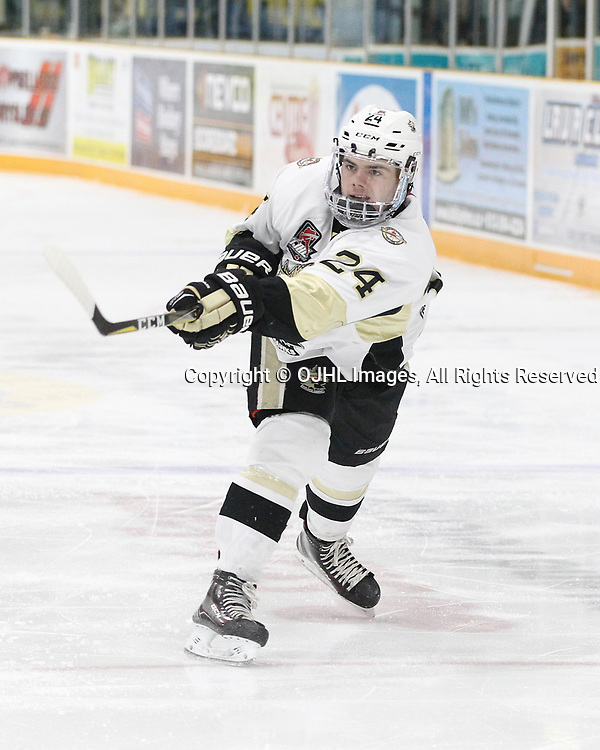 TRENTON, ON  - DEC 1,  2017: Ontario Junior Hockey League game between the Trenton Golden Hawks and the Cobourg Cougars. Shaun Bily #24 of the Trenton Golden Hawks shoots the puck during the second period.<br /> (Photo by Tim Bates / OJHL Images)