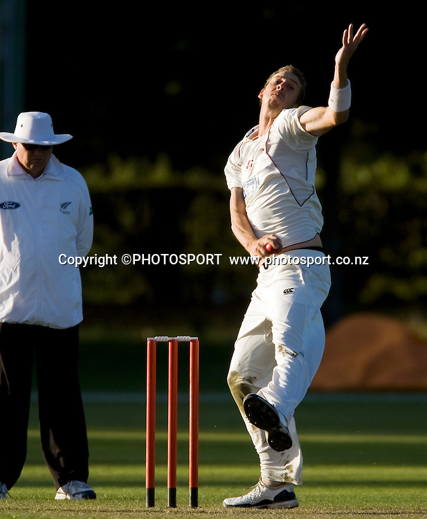 Northern Knights bowler Brent Arnel and umpire Phil Jones during play on day two. Canterbury Wizards v Northern Knights, Plunket Shield Game held at Mainpower Oval, Rangiora, Tuesday 05 April 2011. Photo : Joseph Johnson / photosport.co.nz
