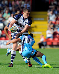 Bristol Lock Ian Evans beats the tackle of Worcester Scrum-Half Jonny Arr - Photo mandatory by-line: Joe Meredith/JMP - Mobile: 07966 386802 - 7/09/14 - SPORT - RUGBY - Bristol - Ashton Gate - Bristol Rugby v Worcester Warriors - The Rugby Championship