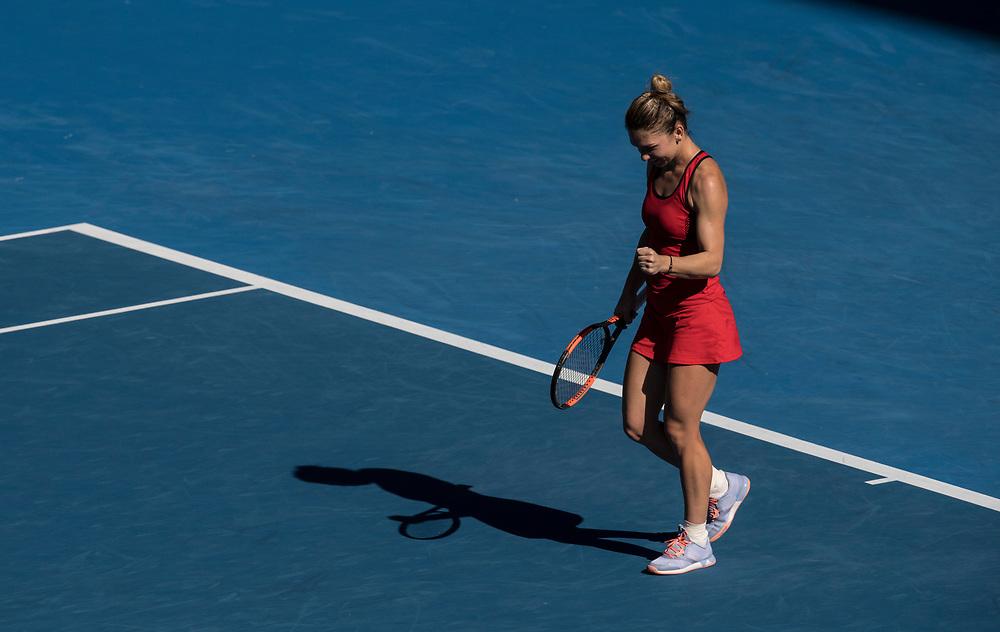 Simona Halep of Romania on day ten of the 2018 Australian Open in Melbourne Australia on Wednesday January 24, 2018.<br /> (Ben Solomon/Tennis Australia)