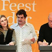 NLD/Amsterdam/20120310 - Feest der Letteren 2012 , Jessica Durlacher en Herman Koch in een quiz met Frank Lammers