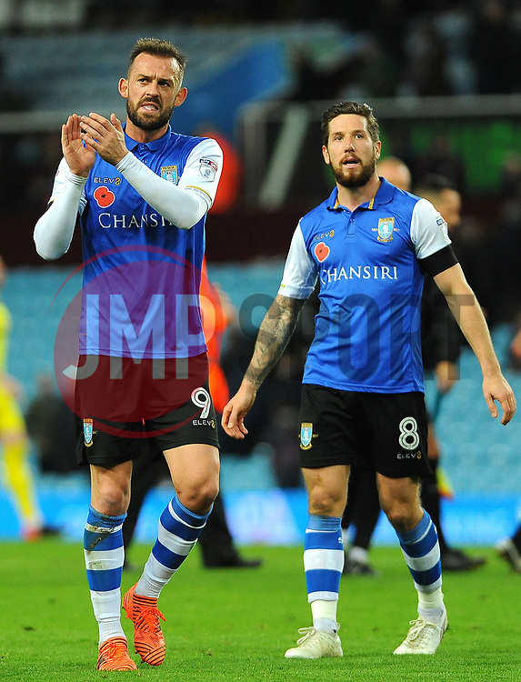 Steven Fletcher of Sheffield Wednesday applauds fans at the full time whistle - Mandatory by-line: Nizaam Jones/JMP - 04/11/2017 - FOOTBALL - Villa Park - Birmingham, England - Aston Villa v Sheffield Wednesday - Sky Bet Championship