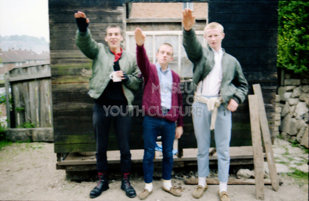 Lee, Neville and Paul with the Nazi Salute, High Wycombe, UK, 1980s.